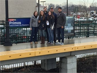 Widener students on a site visit to SEPTA's Primos Station. Photo: SEPTA