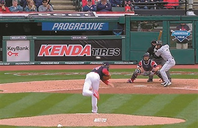 Both Kenda USA and Hankook Tire America have paid for signage behind home plate at Cleveland's Progessive Field.