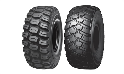 The RT31, left, and RT32, from Yokohama, are new radial tires for scrapers. Both are available in size 37.25R35