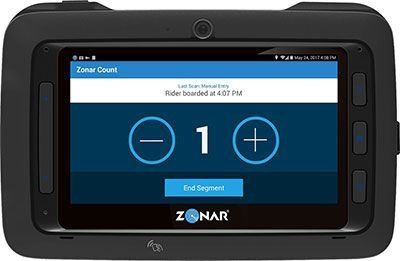 Zonar Count is designed for Zonar tablets to count passengers who get on and off a vehicle while tracking trip data.