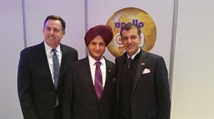 Chairman Onkar S Kanwar (center) is flanked by his son, Neeraj, vice chairman and managing director (right) and Steven Smidlein, senior vice president for Apollo Vredestein Tyres North America Inc., at the inauguration of the Apollo Tyres plant in Hungary.