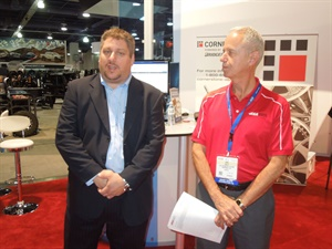 """Bolt On Technology CEO Michael Risich (left, with ASA President Ken Halle) said mobile-readyTireMaster POS software will make users """"more proficient and more productive."""""""