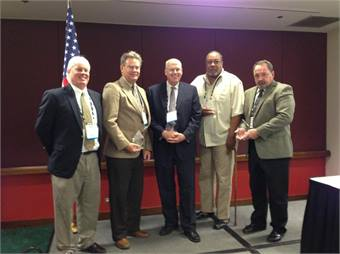 (Left to right) Scott Reston, president MSBMA; Dean Shaklee, Denver RTD; T.J. Ross, Pace Suburban Bus; Larry Moore, King County DOT- Metro Transit Division; and Richard Paprcka, Delaware Transit Corp.