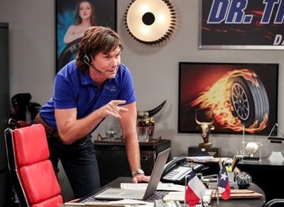 """""""I know they're pricey,"""" Dr. Tire, played by Jerry O'Connell, says to a fictional customer on the CBS television show The Big Bang Theory. """"But these are the Dallas Cowboys of tires. And we're talking the Troy Aikman Cowboys, not that pretty boy Tony Romo!"""" Courtesy of Warner Bros. Entertainment Inc. © 2018 WBEI. All rights reserved. Photo by Michael Yarish."""