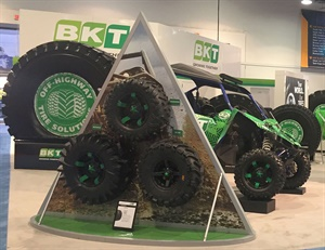 BKT's ConExpo-Con/Agg booth featured its farm, ATV and UTV tires.