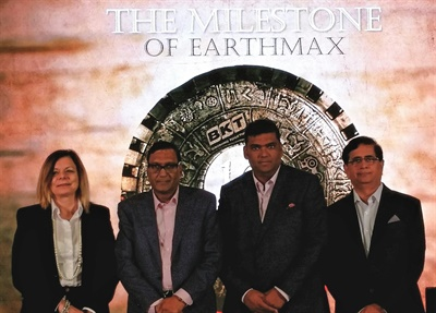 BKT executives hosted a celebration of the Earthmax tire in Crete, Greece, on June 6. From left to right are Lucia Salmaso; Arvind Poddar, Joint Managing Director Rajiv Poddar; and Dilip Vaidya.