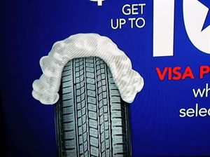 Discount Tire didn't list brands in its Presidents Day ad on ABC World News Tonight, but this screen capture of the tire tread that appeared in the ad reveals one of the brands -- although it is disguised with a George Washington wig. Which brand is it?