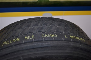 This longhaul Bridgestone casing lasted 1 million miles, and was only retreaded twice.