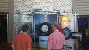 Dealers check out the new Bridgestone Dueler H/T 685 heavy-duty light truck tire line at the dealer meeting.