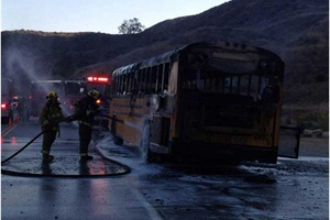 This school bus was destroyed over the weekend after one of its rear tires blew and caught fire, which spread to the rest of the bus.