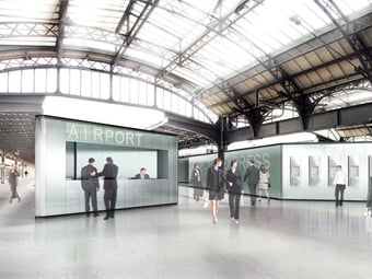 A rendering of the CDG Express project via Silvio d'Ascia Architecture.
