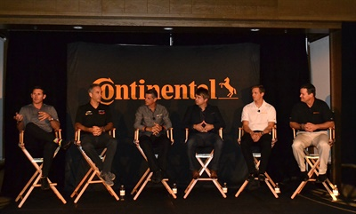 Continental's Travis Roffler, far right, leads a Q&A with the IMSA drivers who helped design the new ExtremeContact Sport: Andy Lally, Joao Barbosa, Ozz Negri, Ryan Dalziel, and Lawson Aschenbach. The company introduced the tire to dealers in Palm Springs on Oct. 10, 2016.