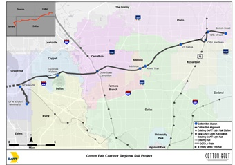 A map of the Cotton Belt commuter rail line via DART.