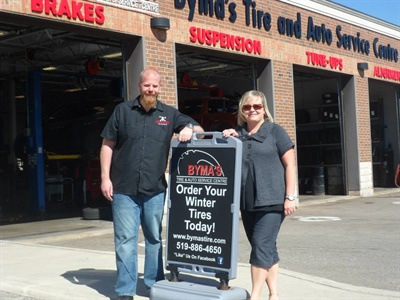 """""""Hitting our benchmarks and goals, in our DSP 20 Group and ultimately in our individual businesses, allows us to reinvest in our companies,"""" says Dave Byma (pictured with his wife, Jackie), co-owner of Byma's Tire & Auto Service Centre."""