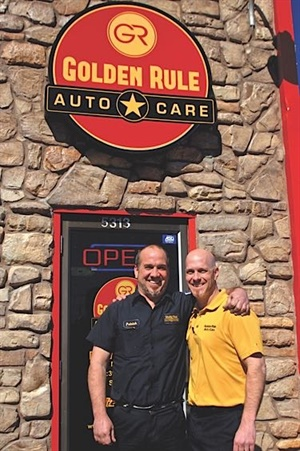 """""""This industry needs to adopt some massive change when it comes to the new digital landscape,"""" says Chris Cloutier, right, who, with his brother, Patrick, owns Golden Rule Auto Care."""