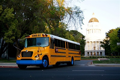 Twenty-ninenew electric school buses, from Lion Bus and Trans Tech, are being provided in part by a grant from the California Air Resources Board, to serve students in the Sacramento area. Shown here is an eLion electric bus.
