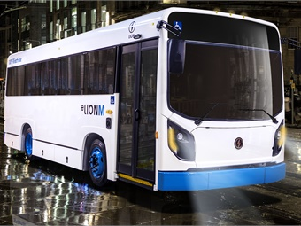 The low-floor vehicle is built to meet paratransit/transit/urban requirements and will be able to travel 150 miles on a single charge. Lion