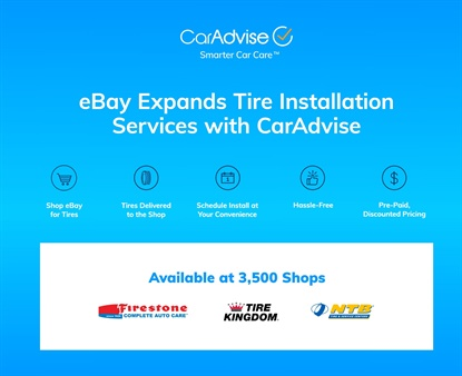 eBay tire shoppers now have more installation locations to choose from — thanks to partnerships with Bridgestone and TBC, as well as Icahn Automotive's AAMCO.