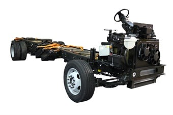 The new EPIC all-electric chassis will be on exhibit at Ford's booth #3239 at The Work Truck Show in Indianapolis, March 7-9. Photo courtesy of Motiv Power Systems
