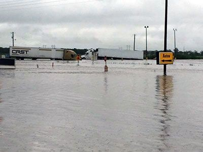 The rain started falling August 11, and it just didn't stop. Duson, roughly 70 miles west of Baton Rouge, got about 16 inches of rain over one weekend. As of late Monday afternoon, the water had receded from parking lots in the area.