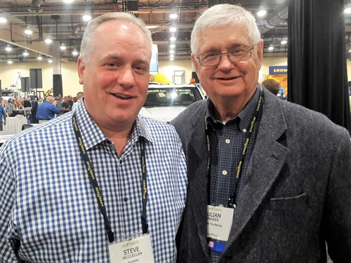 Julian Frasier, right (pictured with Steve McClellan. president of Goodyear Americas), has partnered with the Goodyear Tire & Rubber Co. for 45 years.