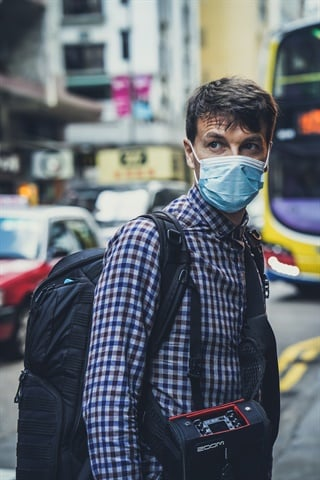 Wearing face protection in Hong Kong.