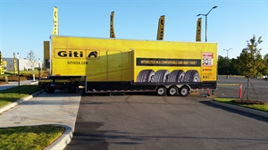 Giti Tire displayed its dealer training-on-wheels trailer at the Giti plant celebration, held in conjunction with Walmart.