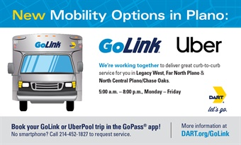 Now available in GoPass®, DART's all-in-one travel tool, customers can book an Uber Pool shared ride in each of DART's GoLink zones in DART's service area.