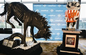 Artist Blake McFarland sculpted a Bronco and a Badger out of 500 Goodyear tires. The mascots represent the 2017 Goodyear Cotton Bowl Classic participants.