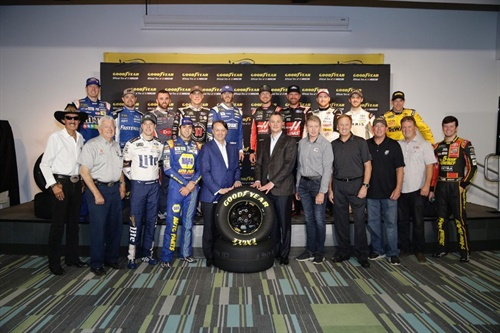 NASCAR campions of the past, present and future join Goodyear Chairman, CEO and President Rich Kramer (center, right) and NASCAR President Brent Dewar (center, left) to announce an extension of Goodyear's close relationship with NASCAR.