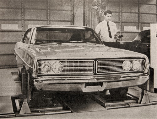"The alignment performed on this Ford Galaxy was unique in 1969. ""Back in the day, you dug a hole in the floor and moved the technician instead of the car,"" says Hunter's Kaleb Silver."