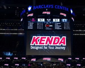The Kenda logo lit up on theBarclays Center scoreboard during the Brooklyn Nets-Houston Rockets game Jan. 15. The teams were celebrating Taiwanese Heritage Night.