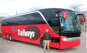 Richard Maben pictured in front of a Utah Trailways motorcoach.