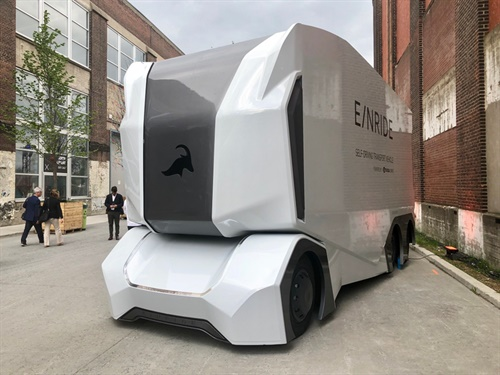 Michelin will support Sweden-based startup firm Einride by deploying its autonomous and all-electric T/Pod transport truck starting next year at the tire maker's production facilities. Photo: David Cullen