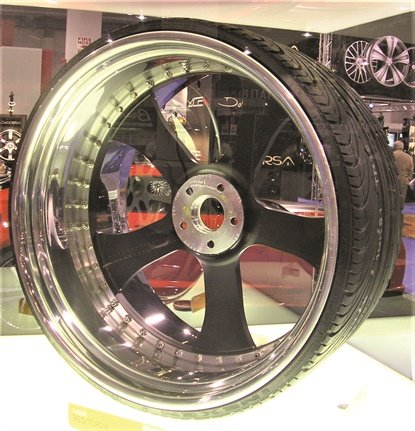 Nexen displayed a 15 aspect ratio tire in its SEMA Show booth in 2009. The company kept the tire under glass.