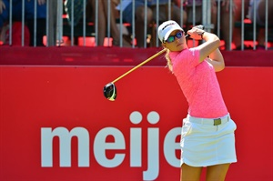 """""""It is exciting and an honor for me to wear the color pink... a symbol of hope and courage for all breast cancer patients and survivors, during the month of October, and thus support the efforts of Omni, Radar tires and the BCRF in finding a cure for breast cancer,"""" says LPGA golfer Jodi Ewart Shadoff."""