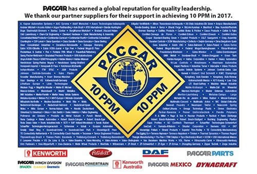 Michelin won a quality award from Paccar for having zero defects in products supplied to the company.