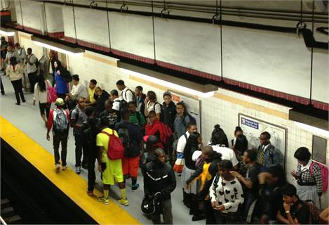 Students wait to take the Broad Street Line subway at City Hall Station — the line's busiest station — during  the morning rush hour. Photo courtesy SEPTA.