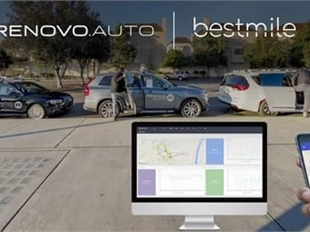 Image of Renovo branded automated vehicles with Bestmile fleet operator dashboard and traveler app inset.