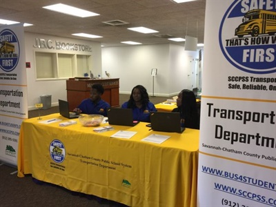 Customer service representatives recently conducted a back-to-school information session at a local church, answering questions about pupil transportation for the 2017-18 school year.