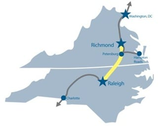 A map of the proposed high-speed rail line.