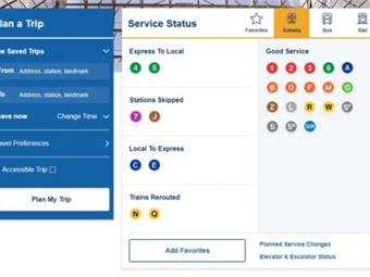 MTA service status box for subways