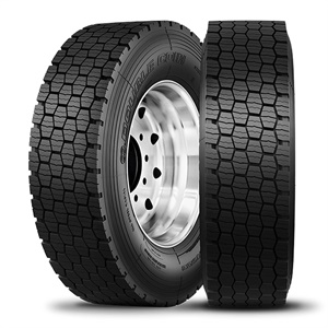 All Double Coin RSD3 drive tires feature an open shoulder design for added cleaning ability in ice and snow.