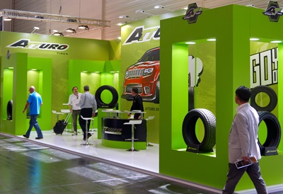 Thanks in part to its on- and off-road tire designs, the Atturo booth was both figuratively and literally colorful.