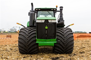 With Goodyear Optitrac LSW1400/30R46 tires, the overall width of the tractor is reduced versus a standard dual configuration, which makes for easier roading and an improved turn radius.