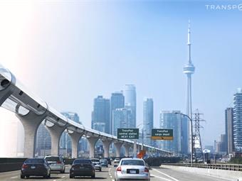 Rendering of TransPod system in Toronto.TransPod