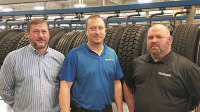 (From left): Wonderland Tire President Jon Langerak is at his 36,000-square-foot retread plant with Jason Cleveland, manager, and Steve Oudekerk, foreman. The plant produced about 40,000 AcuTread retreads in 2016.