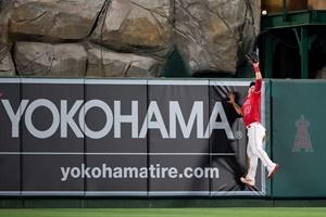 Yokohama's corporate logo is positioned in centerfield, where two-time Most Valuable Player Mike Trout patrols. (Photo courtesy of the Los Angeles Angeles.)