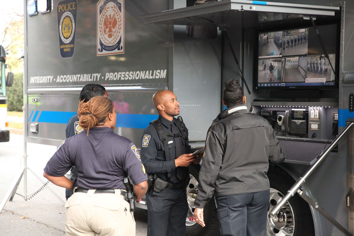 Camera views and monitors are available outside of the vehicle. Photo: MARTA