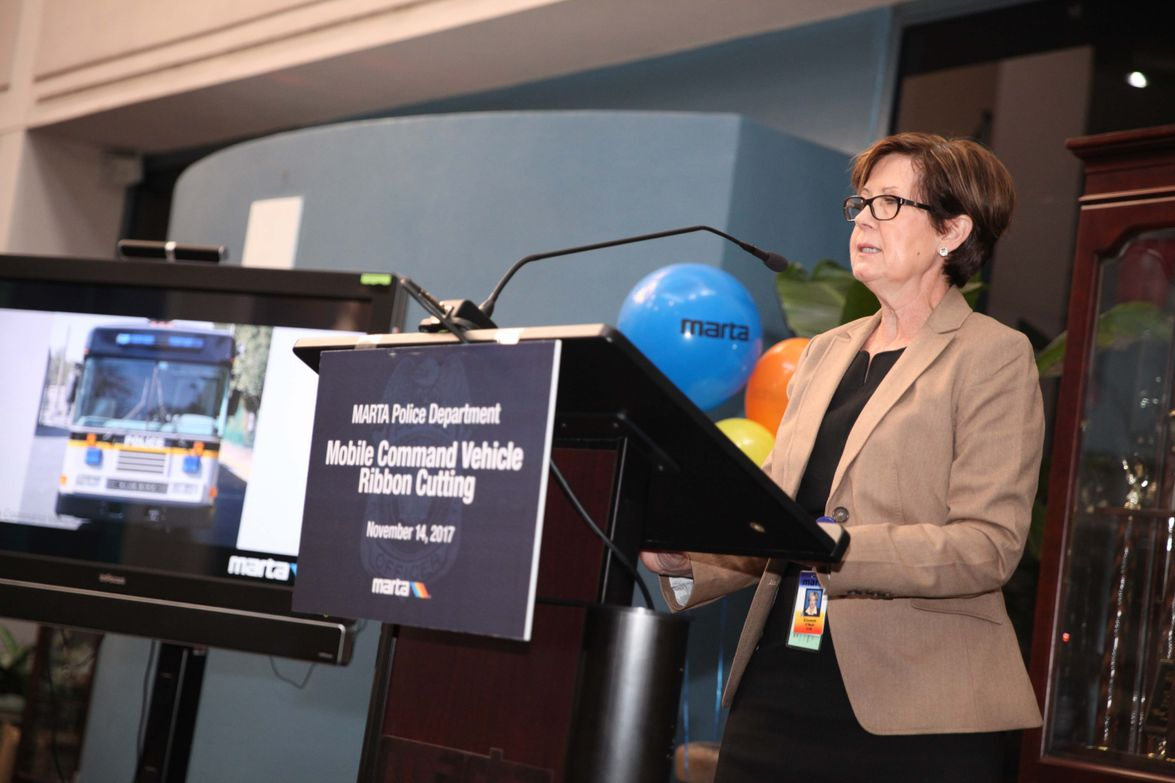 MARTA Interim General Manager and CEO Elizabeth O'Neill addresses the audience at the...